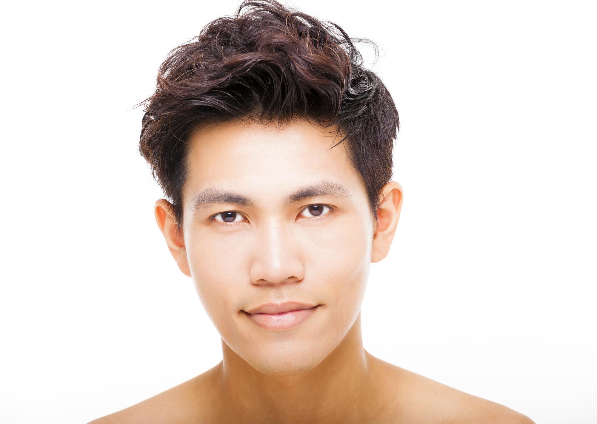 closeup young handsome man face