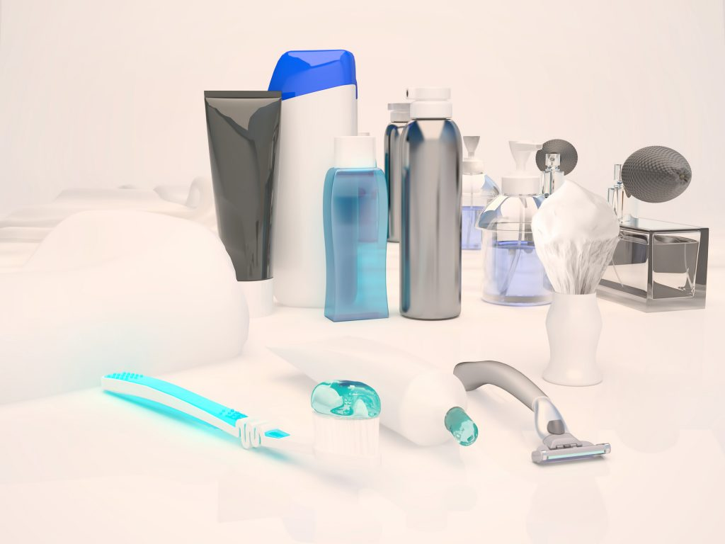 Toothpaste, brush, soap, balm, razor, shaving brush, towel, shampoo,perfume, mirror.